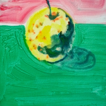 Organic Golden Delicious Apple, acrylic on canvas, 16 by 12 in. Emilia Kallock 2015