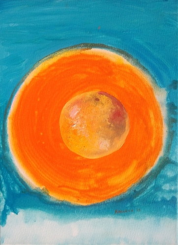 Grapefruit with Orange Circle, acrylic and oil on canvas, 16 by 12 in. Emilia Kallock 2015