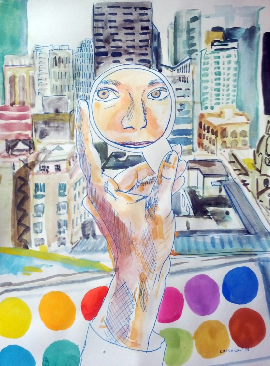 Vancouver and Mirror 1, watercolor and pen on paper, 11.5 by 8.5 in. Emilia Kallock 2015