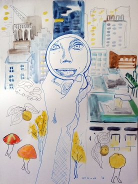 Vancouver and Mirror 4, watercolor and pen on paper, 11.5 by 8.5 in. Emilia Kallock 2015