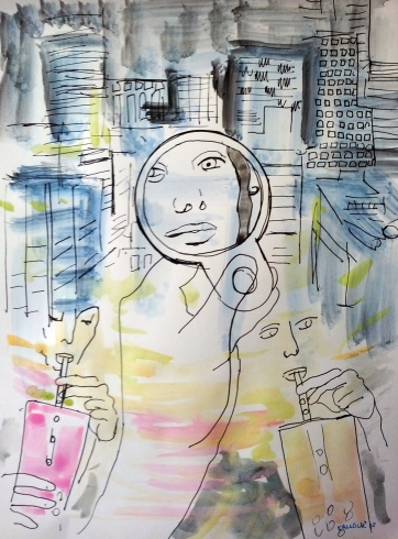 Vancouver and Mirror 3, watercolor and pen on paper, 11.5 by 8.5 in. Emilia Kallock 2015