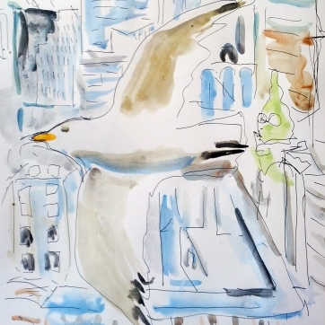 Seagull and Vancouver Buildings, 11.5 by 8.5 in. Emilia Kallock 2015
