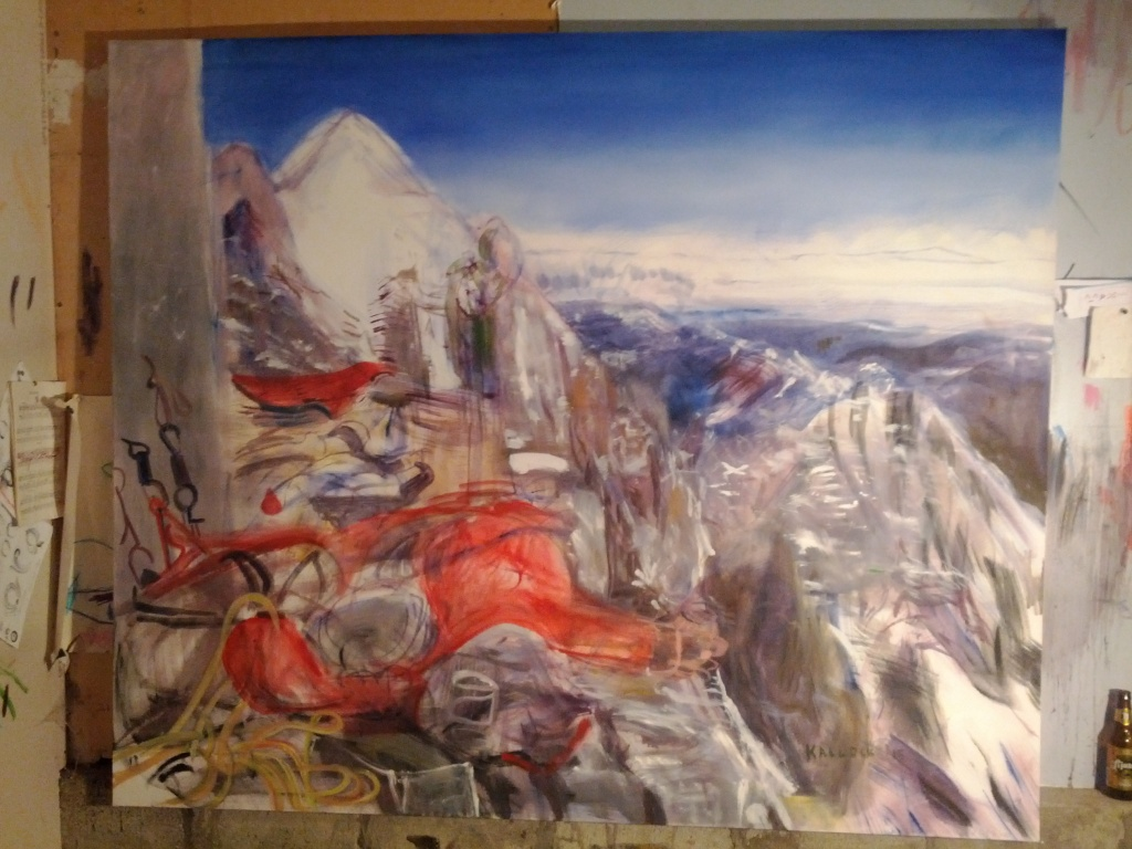 Mountain, People, oil on canvas 66 by 77 in. Emilia Kallock 2015