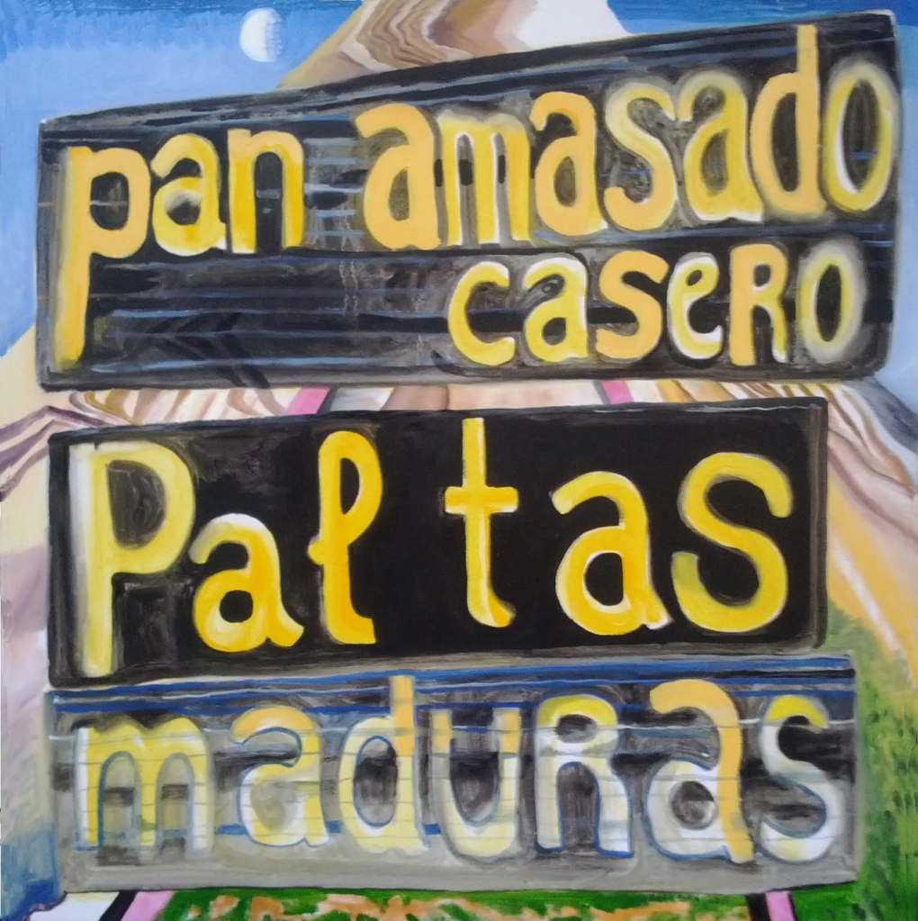 Pan Amasado Casero, Paltas Maduras, oil on canvas, 33 by 33 in. Emilia Kallock 2015