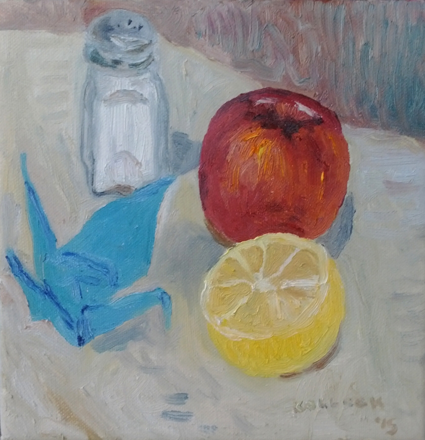 Still Life, Origami, oil on canvas, 8 by 8 in. Emilia Kallock 2015