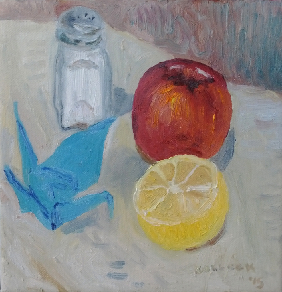 Still Life, Origami, oil on canvas, 8 by 8 in. Emilia Kallock 2015