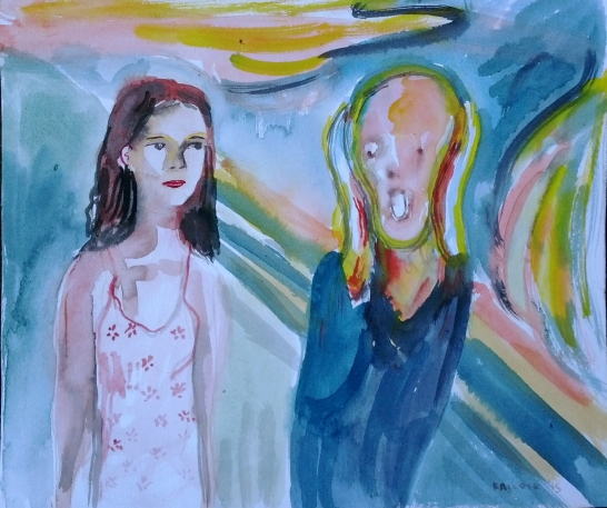 Untitled (With Scream), watercolor on paper, 12 by 14 in. Emilia Kallock 2015