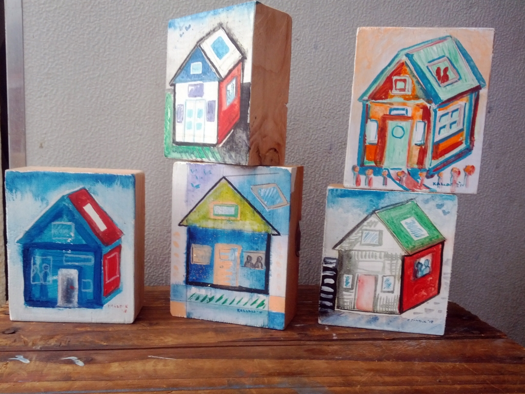 House on Wood,  dimensions appx. 4 by 4 in. each, acrylic on wood, Emilia Kallock 2015