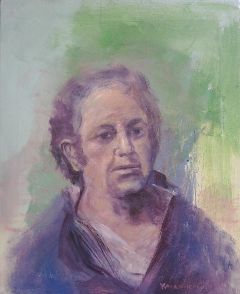 Mystery Portrait, oil on found canvas 22 by 18 in. Emilia Kallock 2015