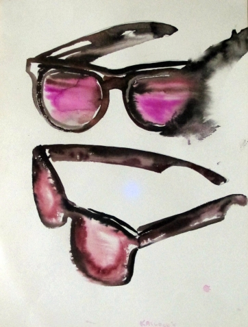Sunglasses, watercolor on paper, 20 by 15 in. Emilia Kallock 2015