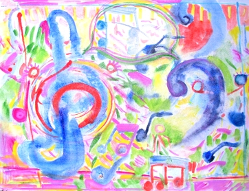 Untitled, Notes, Music, oil on canvas, 30 by 40 in. Emilia Kallock 2016