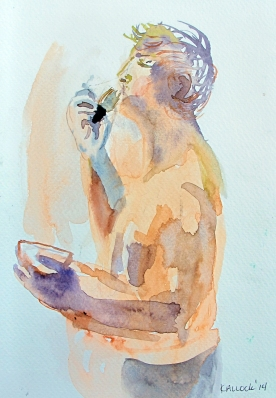 Study of Alex Shaving, watercolor on paper, 6 by 4 in. Emilia Kallock 2014