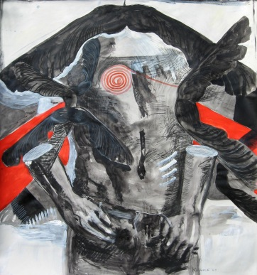 Fall Masculine 2, acrylic and ink on paper, 45 by 45 in. Emilia Kallock 2009