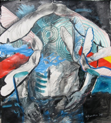 Fall Masculine 1, acrylic and charcoal on paper, Emilia Kallock 2009
