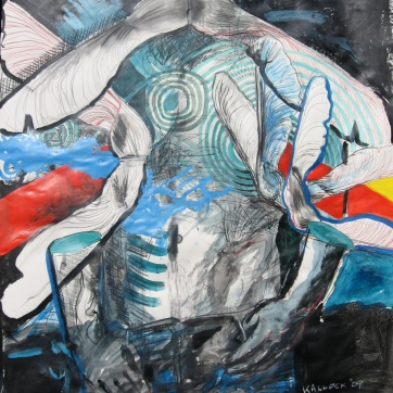 Fall Masculine 1, acrylic and charcoal on paper, Emilia Kallock 2009