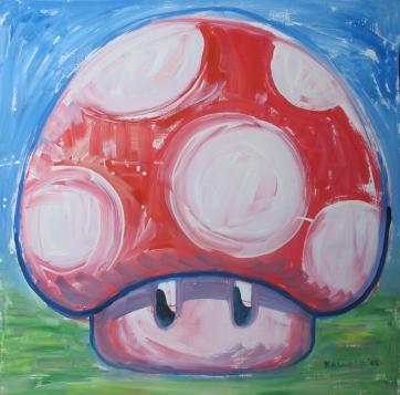 One Up Mushroom 2, acrylic on board, 24 by 24 in. Emilia Kallock 2015