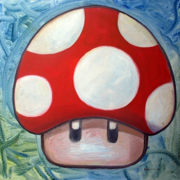 One Up Mushroom 1, oil on canvas, 24 by 24 in. Emilia Kallock 2015