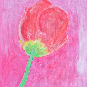 Tulip 11, acrylic and glitter on canvas, 9 by 7 in. Emilia Kallock 2016