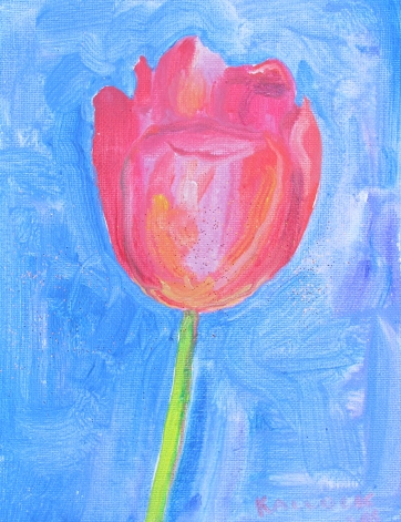 Tulip 9, acrylic and glitter on canvas 9 by 7 in. Emilia Kallock 2016