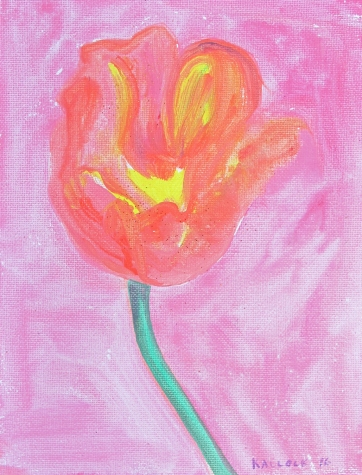Tulip 1, acrylic and glitter on canvas, 9 by 7 in. Emilia Kallock 2016
