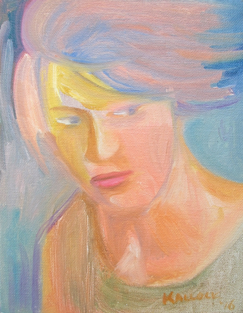 Portrait Practice, oil on canvas 7 by 5 in. Emilia Kallock 2016