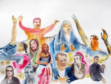 Personaje, watercolor and glitter on paper, 18 by 24 in. Emilia Kallock 2016