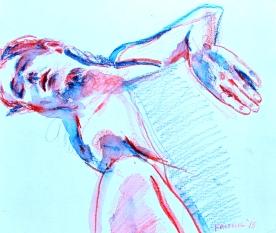 Steven Sleeping 2, watercolor pencil on paper, 5 by 5 in. Emilia Kallock 2016