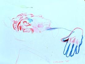 Steven Sleeping, watercolor pencil on paper, Emilia Kallock 2015