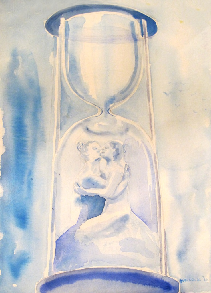 sand timer art. valentines painting watercolor on paper 12 by 8 in emilia kallock 2016 sand timer art n