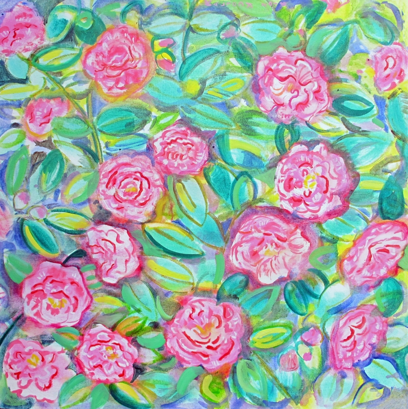 Camelias, oil on canvas,  30 by 30 in. Emilia Kallock 2016