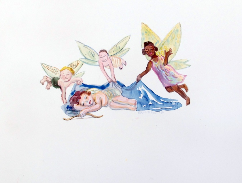 Cupid 2, watercolor on paper, 10 by 12 in. Emilia Kallock 2016