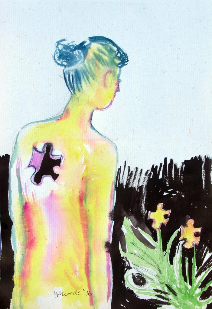 Flower Puzzle, watercolor on hemp paper, 6 by 4 in. Emilia Kallock 2016