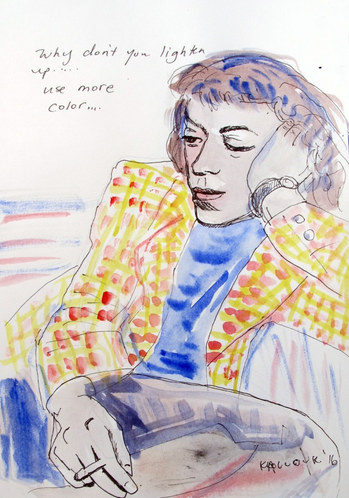 Why Don't You Lighten Up From Joan Mitchell, watercolor and pen on paper, 6 by 4 in. Emilia Kallock 2016