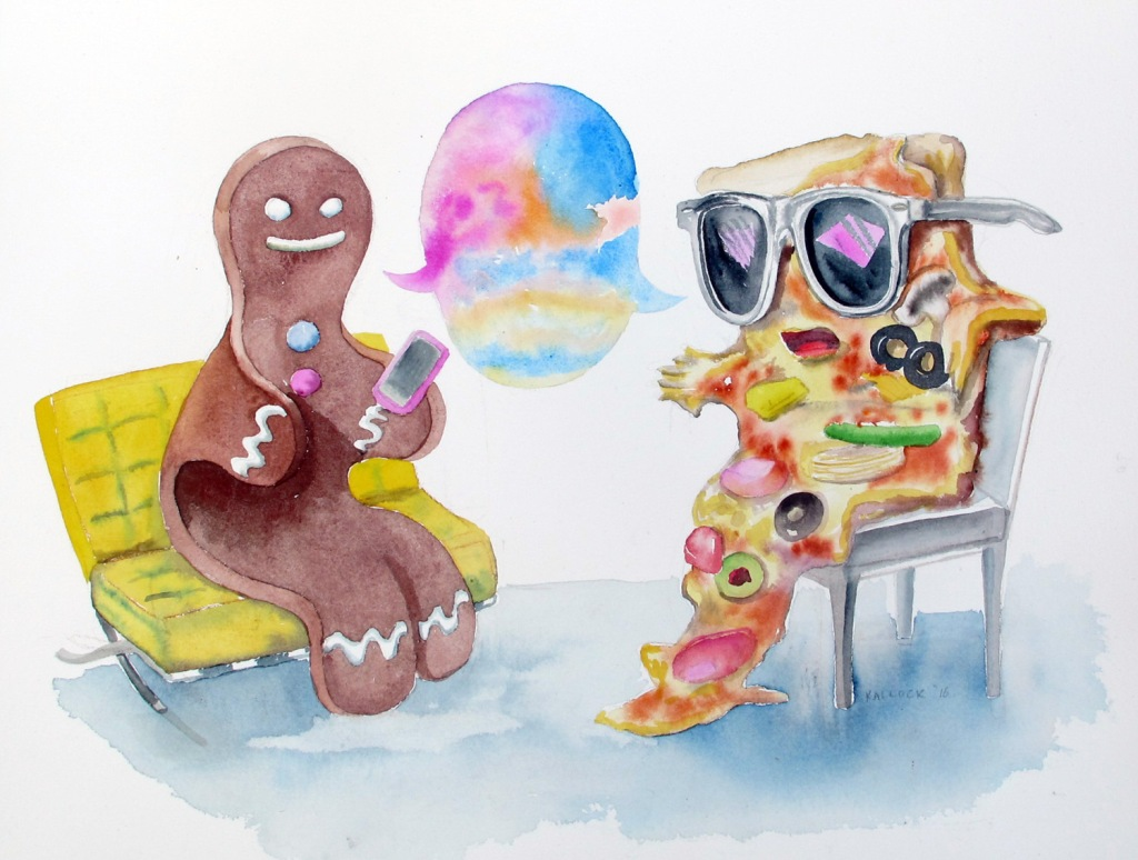 Pizza, Gingerbread, watercolor on paper, 12 by 16 in. Emilia Kallock 2016