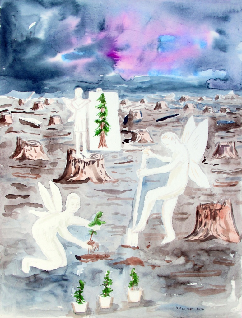 The Rebuilding, watercolor on paper, 14 by 12 in. Emilia Kallock 2016