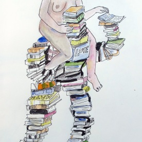 Untitled, Books, watercolor and pen on paper, 6 by 4 in. Emilia Kallock 2016