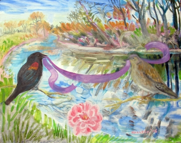 Birds, Ribbon, Camelia, oil on board, 16 by 20 in. Emilia Kallock 2016