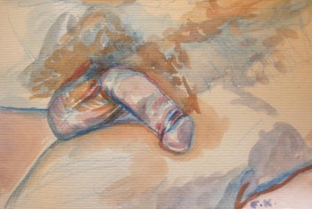 Penis 7, watercolor on paper, 3 by 5 in. Emilia Kallock 2009