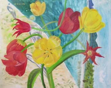 Tulips 1, oil on board, 16 by 20 in. Emilia Kallock 2016