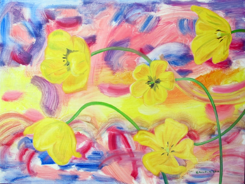 5 Yellow Tulips and A Child's Sunset, oil on board, 20 by 24 in. Emilia Kallock 2016