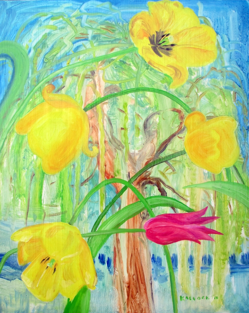 Five Tulips and A Weeping Willow and A Resemblance Began to Occur
