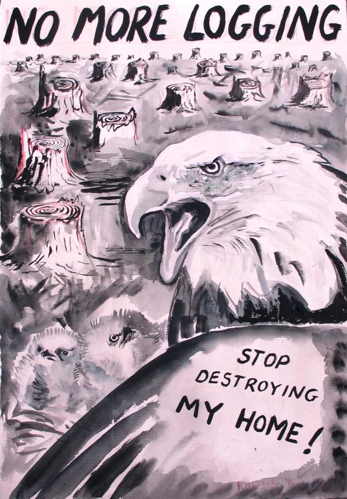 Logging, watercolor on paper, 20 by 14 in. Emilia Kallock 2016