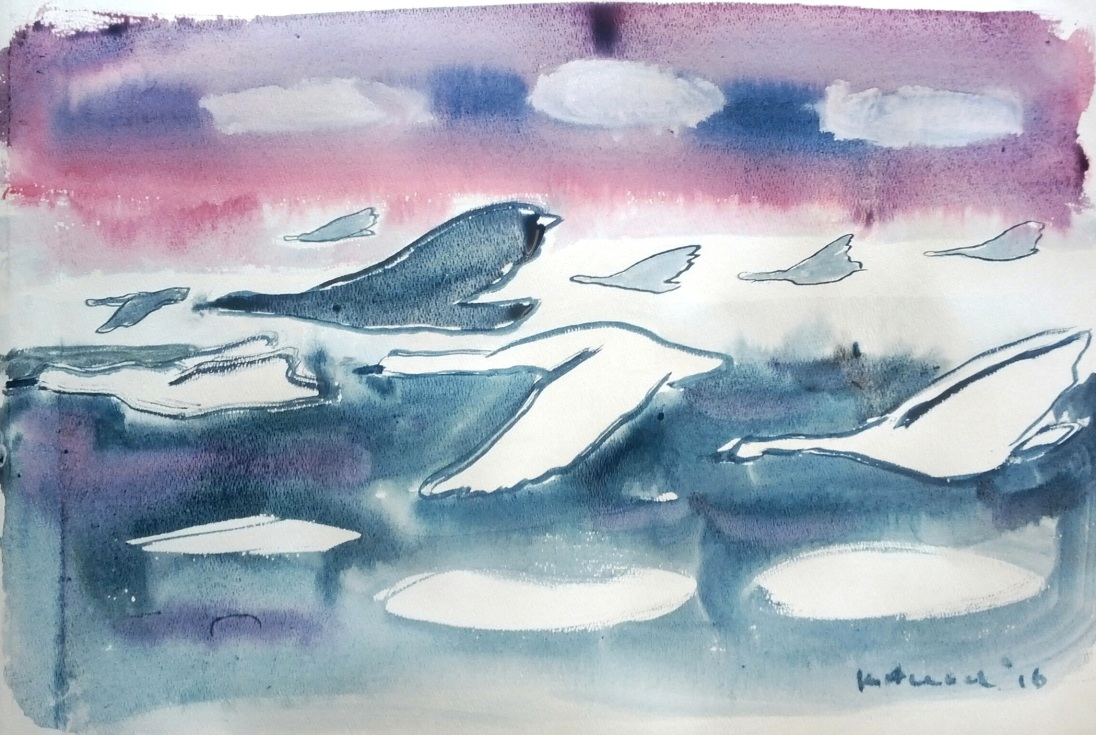 Swan Mural Study 1, painting, watercolor on paper, 12 by 18 in. Emilia Kallock