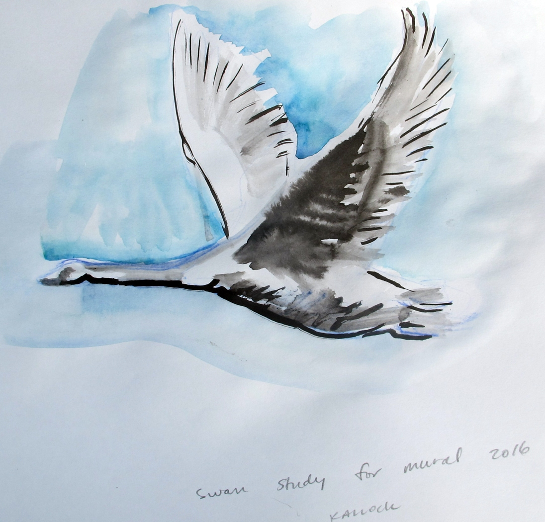 Swan 12, watercolor on paper, 8 by 10 in. Emilia Kallock 2016