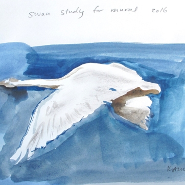Swan 15, watercolor on paper, 8 by 10 in. Emilia Kallock 2016