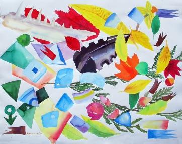 Espiritu and Leaves, watercolor on paper, 35 by 45 in. Emilia Kallock 2009