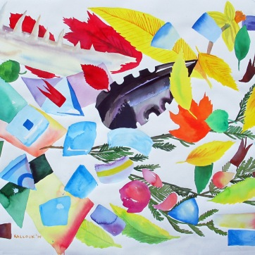Espiritu and Leaves, watercolor on paper, 35 by 45 in. Emilia Kallock 2009