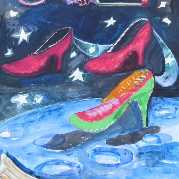 Galactic Shoes, acrlylic on paper, 36 by 24 in. Emilia Kallock 2009