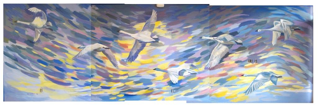 Swan Mural, 10' by 28' Emilia Kallock 2016