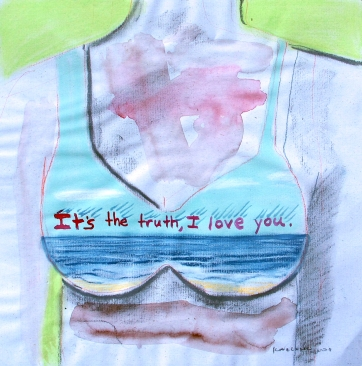 Truth Bra, watercolor and chalk pastel on paper, 10 by 10 in. Emilia Kallock 2008